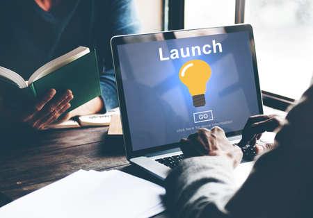 introduce: Launch Start Brand Introduce Light Bulb Concept Stock Photo