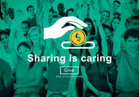 give money: Sharing is Caring Money Donation Give Concept