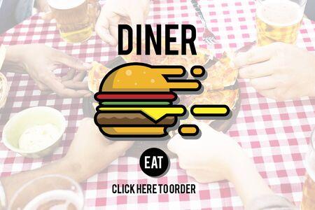 diner: Diner Eating Restaurant Cafe Concept Stock Photo