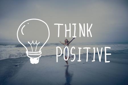 optimismo: Piense actitud positiva optimismo Inspire Concept