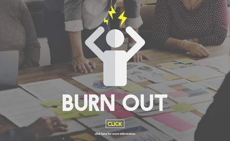 burn out: Burn Out Depressed Employee Exhausted Tired Concept