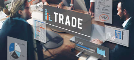 sales growth: Trade Commerce Deal Economy Exchange Growth Concept Stock Photo
