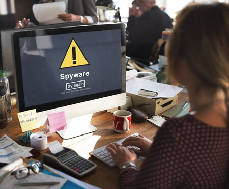 Spyware Computer Hacker Spam Phishing Malware Concept Stock Photo