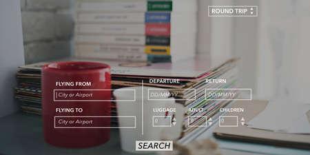 return trip: Booking Destination Departure Arrive Airport Concept