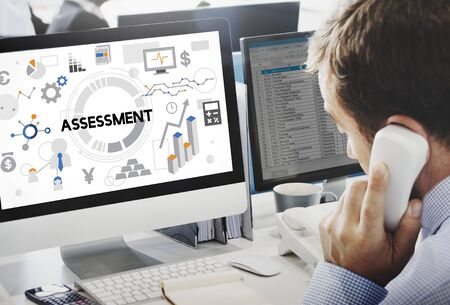 tech support: Assessment Evaluation Analysis Management Report Concept Stock Photo