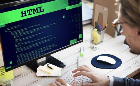 html: Html Programming Advanced Technology Web Concept Stock Photo