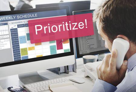 important phone call: Prioritize Effectivity Focus Order Rank Tasks Urgent Concept