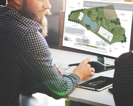 central park: Public Park Layout Map Information Concept Stock Photo