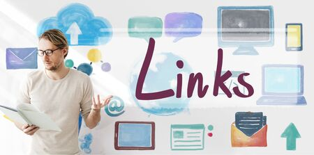 backlinks: Links Backlinks Hyperlink Linkage Internet Online Concept