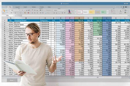 Hoja de cálculo, documento, información, financiera, inicio, concepto Foto de archivo