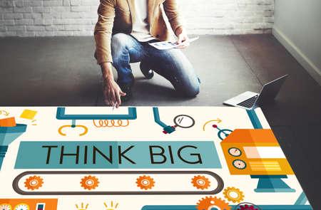 attitude: Think Big Analysis Attitude Planning Success Concept