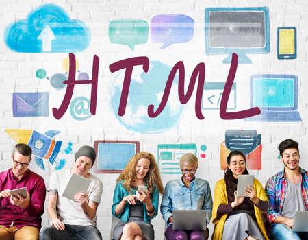computer language: HTML Computer Language Internet Online Technology Concept