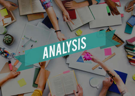 consideration: Analysis Analyze Consideration Evaluation Data Information Concept Stock Photo