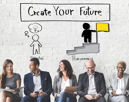 man business oriented: Create Your Future Aspiration Goals Concept