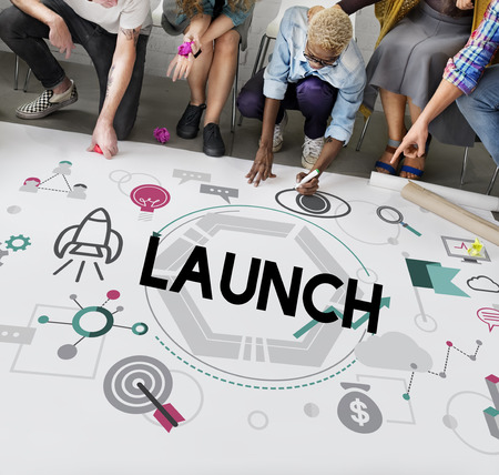 kick off: Launch Begin Introduce Kick Off New Business Concept Stock Photo