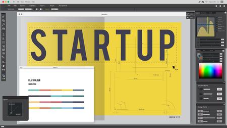editorial: Start up Word Design Editorial Artwork Concept