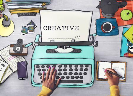 laptop outside: Creativity Creative Ideas Imagination Inspiration Design Concept Stock Photo