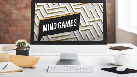 mind games: Mind Games Strategy Maze Solution Concept Stock Photo