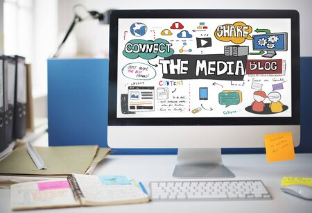 communications tools: The Media Social Networking Online Connection Concept