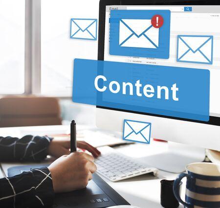 communications tools: Content Blogging Data Internet Media Sharing Concept Stock Photo