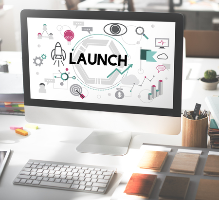 introduce: Launch Begin Introduce Kick Off New Business Concept Stock Photo