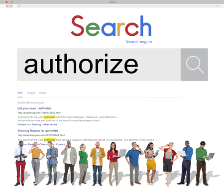 Multi ethnic people with online search for authorize