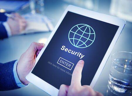 security technology: Data Security Global Technology Homepage Concept