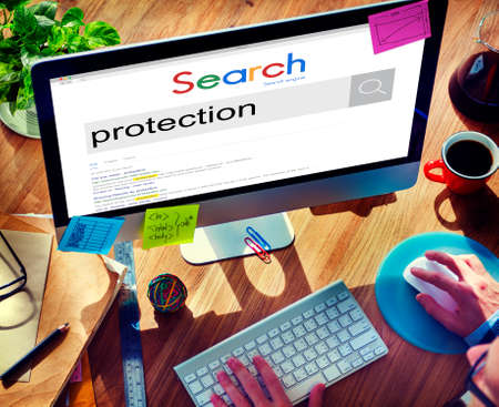 business security: Protection Private Safety Security Shield Immunity Concept Stock Photo
