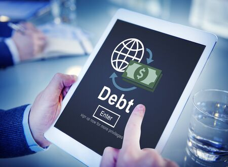 deficit: Debt Loan Credit Money Financial Problem Concept Stock Photo