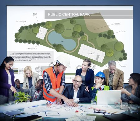 estate planning: Public Park Layout Map Information Concept Stock Photo