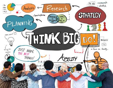 optimismo: Think Big Faith Attitude Inspiration Optimism Concept