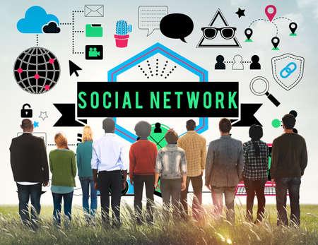 facing backwards: Social Media Social Networking Technology Innovation Concept Stock Photo