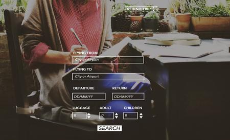 return trip: Booking Airport Departure Flight Fly Round Trip Concept