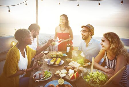 hapiness: Celebrate Dining Friendship Hapiness Nutrition Concept