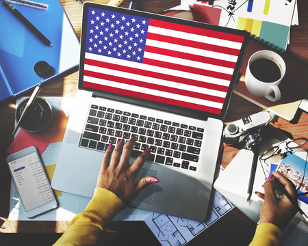 nationality: American Flag Nationality Liberty Country Concept Stock Photo