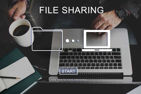 file sharing: File Sharing Computer Data Digital Document Concept Stock Photo