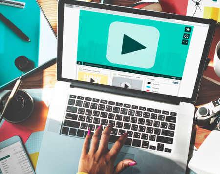 audio video: Play Button Audio Video Media Technology Concept Stock Photo