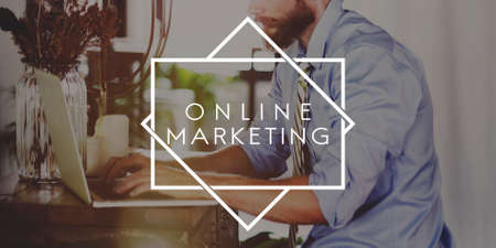 marketing online: Online Marketing E-business Advertisement Concept Stock Photo