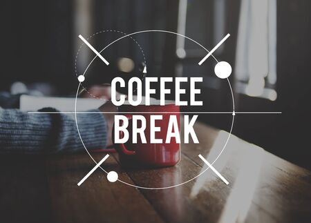 coffe break: Coffee Break Relaxation Rest Relief Repose Cessation Concept Stock Photo