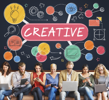 laptop outside: Creative Creativity Thinking Invention Concept Stock Photo