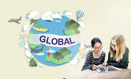global village: Global Climate Temperature Community Worldwide Concept Stock Photo