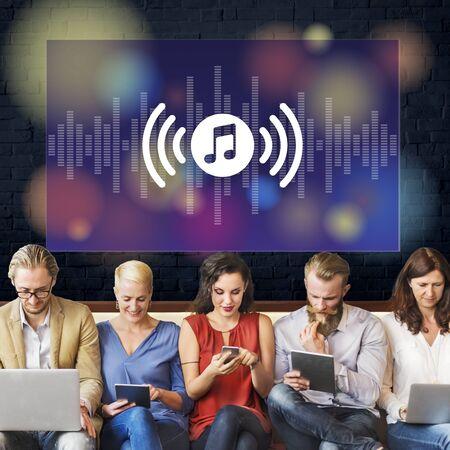 music listening: Music Listening Audio Application Equalizer Concept