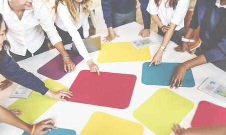 schoolroom: Cardboard Group Study Classroom Acdemic Team Concept Stock Photo