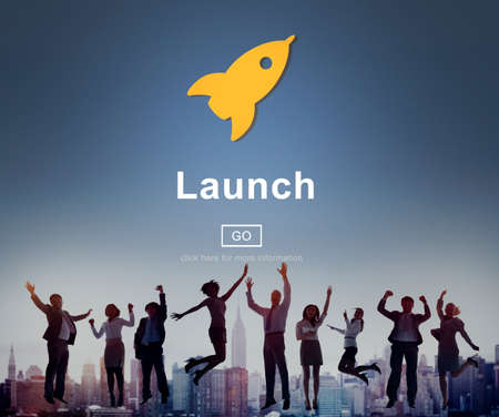 overjoyed: Launch Start Brand Introduce Rocket Ship Concept Stock Photo