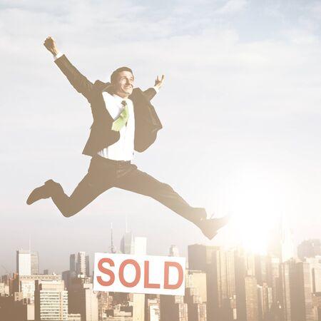 real estate sold: Businessman Success Sold Real Estate Concept
