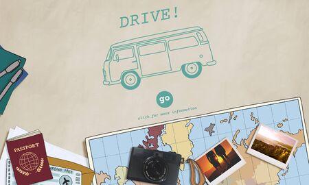 destination: Retro Car Travel Tour Destination Concept