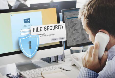 Dateisicherheit Daten Details Fakten Informationen Medienkonzept
