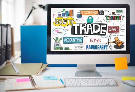 digital asset management: Trade Export Economy Exchange Finance Concept Stock Photo