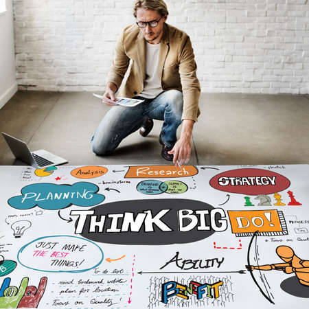 intention: Think Big Optimism Positive Creative Intention Concept Stock Photo