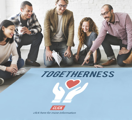 asian business team: Togetherness Unity Design Icon Heart Concept